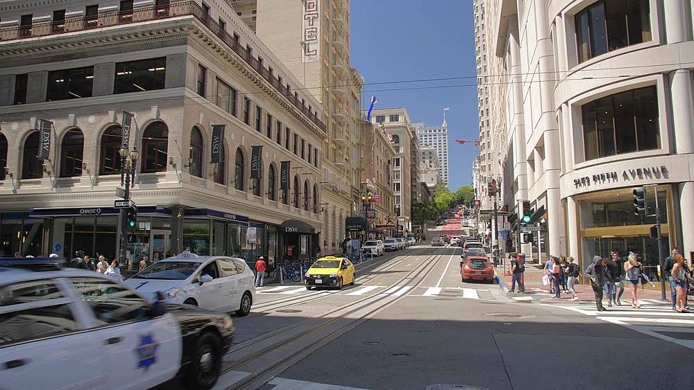View of traffic on Powell Street, San Francisco, California, United States of America, North America - 1276-1315