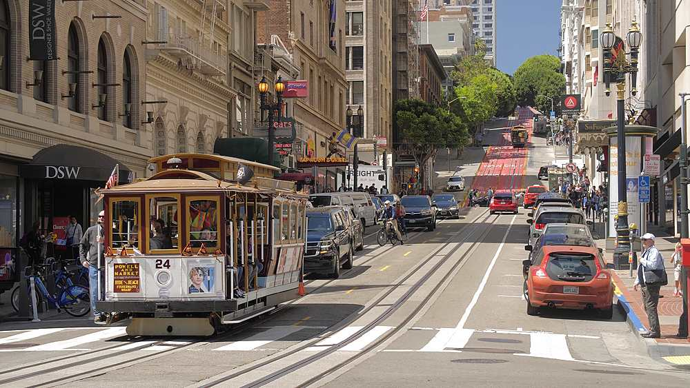View of Cable car on Powell Street, San Francisco, California, United States of America, North America - 1276-1316