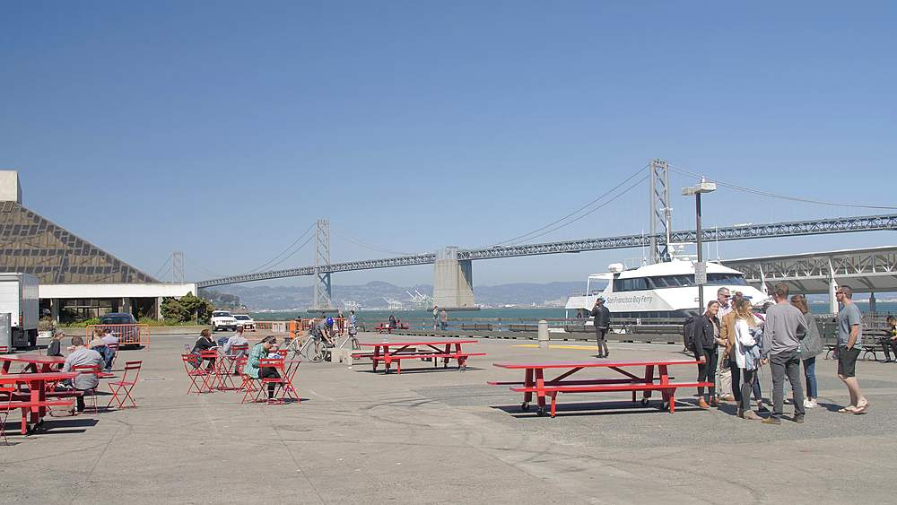 View of Oakland Bay Bridge from Pier 1, San Francisco, California, United States of America, North America - 1276-1323