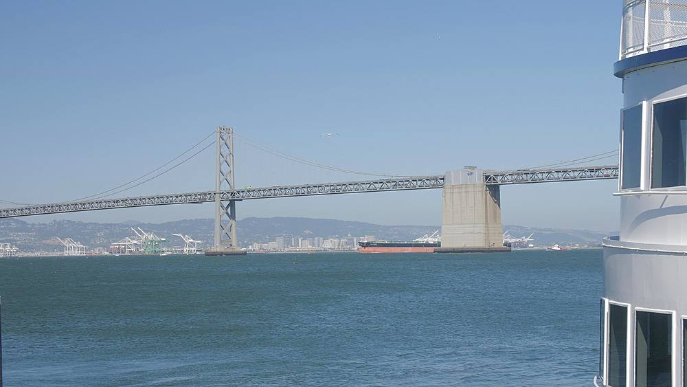 View of ferry and Oakland Bay Bridge from Pier 1, San Francisco, California, United States of America, North America - 1276-1325