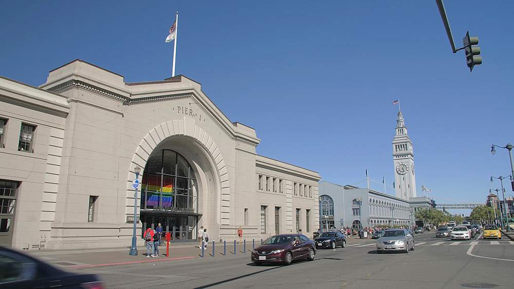 Pier 1 and Ferry Building Market Hall and busy traffic on The Embarcadero, San Francisco, California, United States of America, North America - 1276-1327