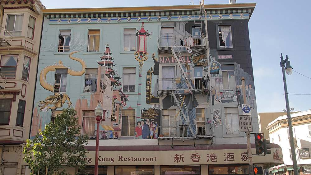 Mural on a building, Chinatown, San Francisco, California, United States of America, North America - 1276-1334