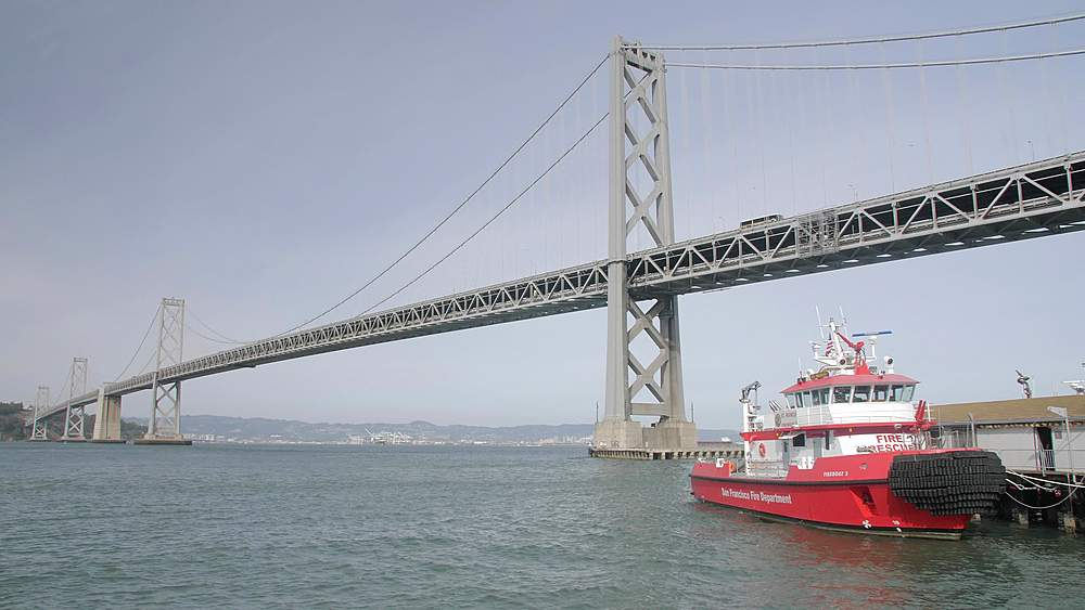 Oakland Bay Bridge and Fire Rescue Boat, San Francisco, California, United States of America, North America - 1276-1339