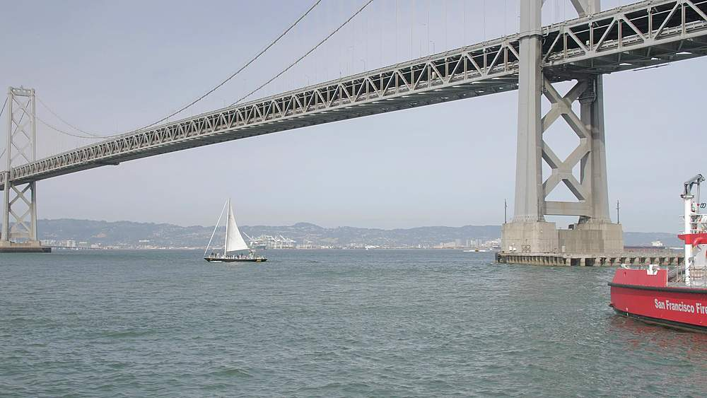 Oakland Bay Bridge and Fire Rescue Boat, San Francisco, California, United States of America, North America - 1276-1340
