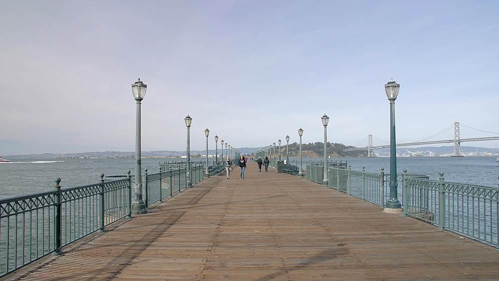 Oakland Bay Bridge and Pier 7, San Francisco, California, United States of America, North America - 1276-1342