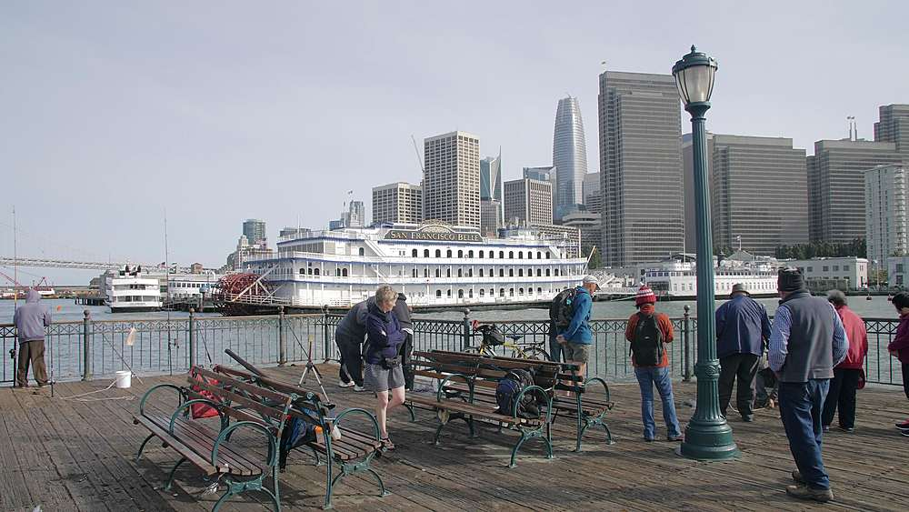 Fisherman on Pier 7 and San Francisco skyline, California, United States of America, North America - 1276-1343