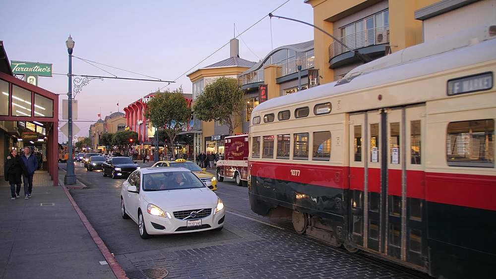 Tram in Fishermans Wharf, San Francisco, California, United States of America, North America - 1276-1373