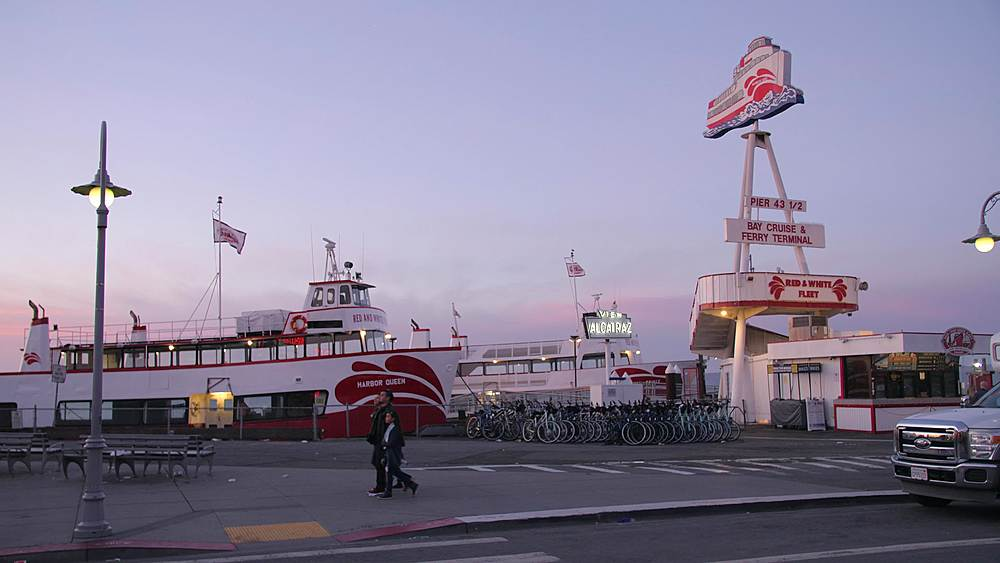 View of Harbor Princess sign at dusk, San Francisco, California, United States of America, North America - 1276-1376
