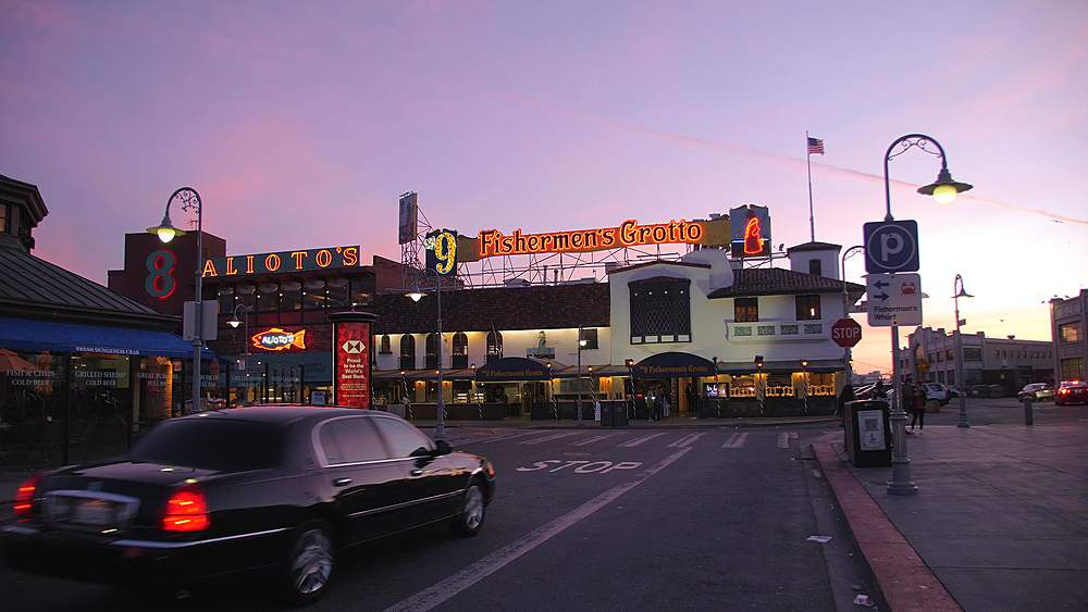 View of Fishermans Wharf sign at dusk, San Francisco, California, United States of America, North America - 1276-1377