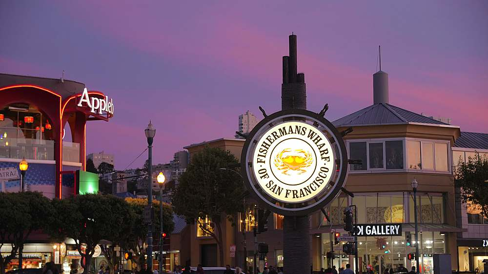 View of Fishermans Wharf sign at dusk, San Francisco, California, United States of America, North America - 1276-1378