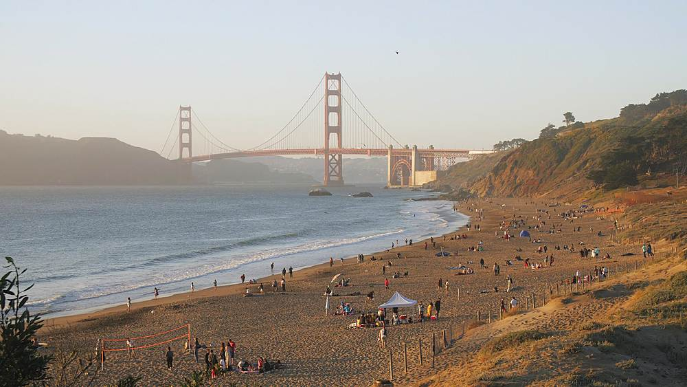 View over Baker Beach towards Golden Gate Bridge at sunset, South Bay, San Francisco, California, United States of America, North America - 1276-1384