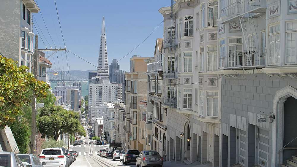 Street view of Transamerica Pyramid and Oakland Bay bridge from Russian Hill, San Francisco, California, United States of America, North America - 1276-1394
