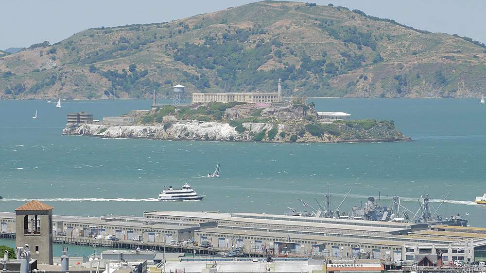 Street view of Alcatraz Island from Russian Hill, San Francisco, California, United States of America, North America - 1276-1397