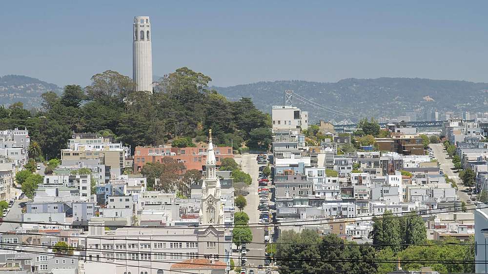Street view of Coit Tower from Russian Hill, San Francisco, California, United States of America, North America - 1276-1400