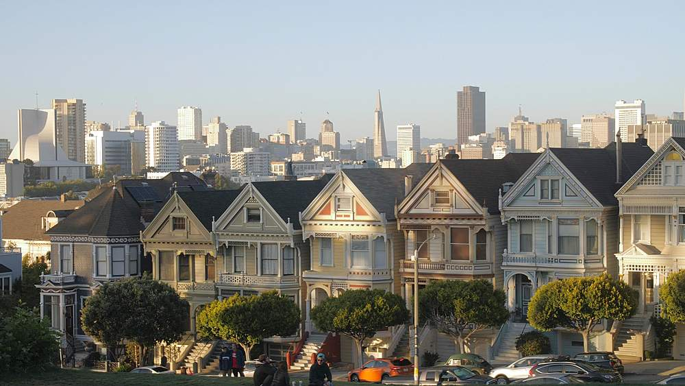 View of Painted Ladies at dusk, Victorian wooden houses, Alamo Square, San Francisco, California, United States of America, North America - 1276-1404