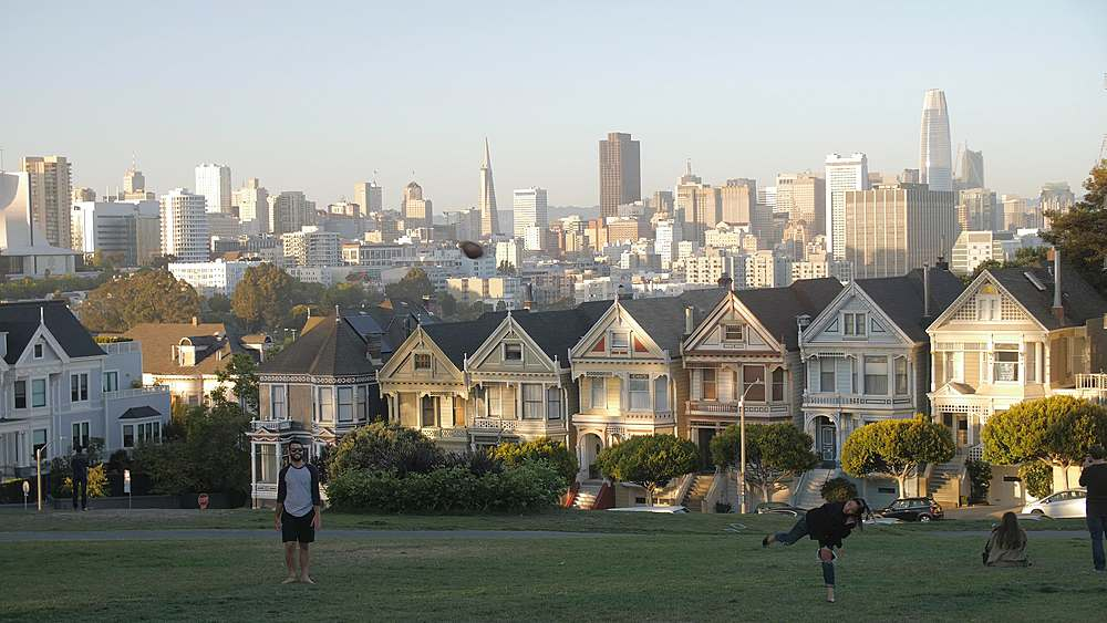View of Painted Ladies at dusk, Victorian wooden houses, Alamo Square, San Francisco, California, United States of America, North America - 1276-1405