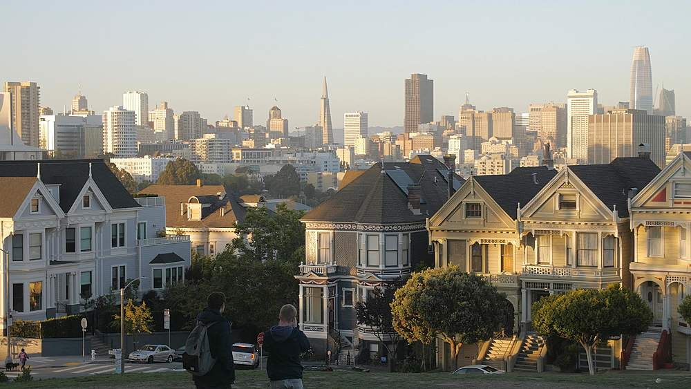 View of Painted Ladies at dusk, Victorian wooden houses, Alamo Square, San Francisco, California, United States of America, North America - 1276-1406