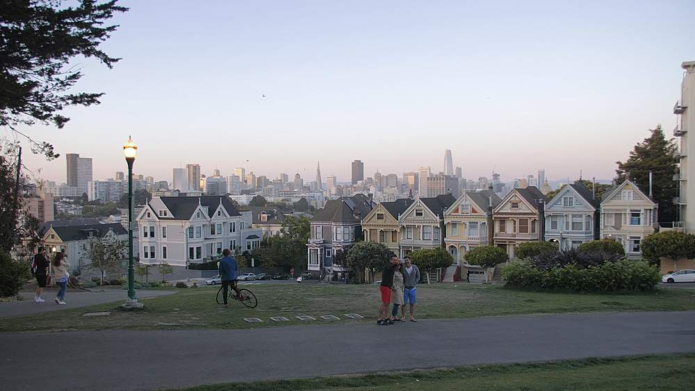 View of Painted Ladies at dusk, Victorian wooden houses, Alamo Square, San Francisco, California, United States of America, North America - 1276-1407