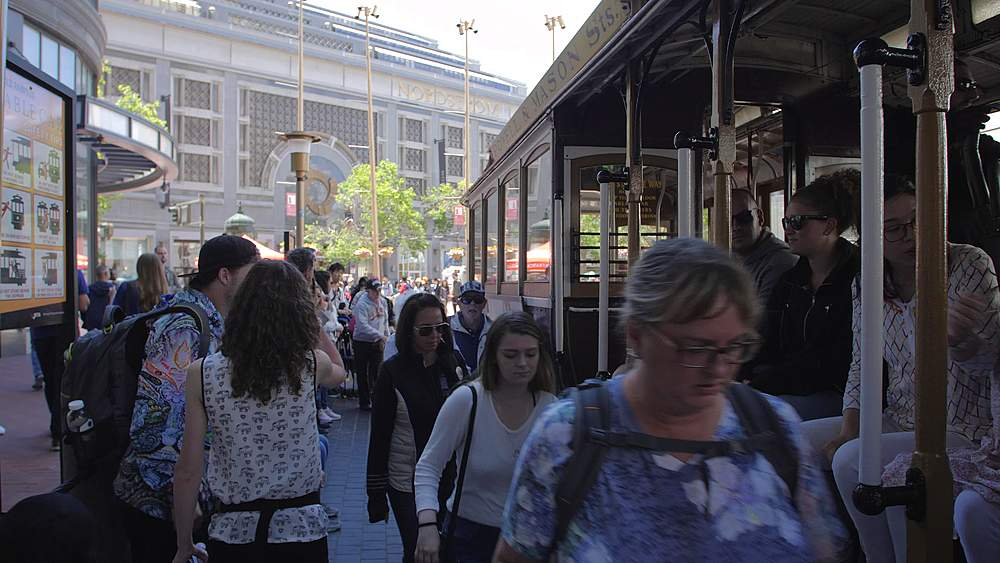 people boarding Cable Car at the end of Powell Street in San Francisco, California, United States of America, North America