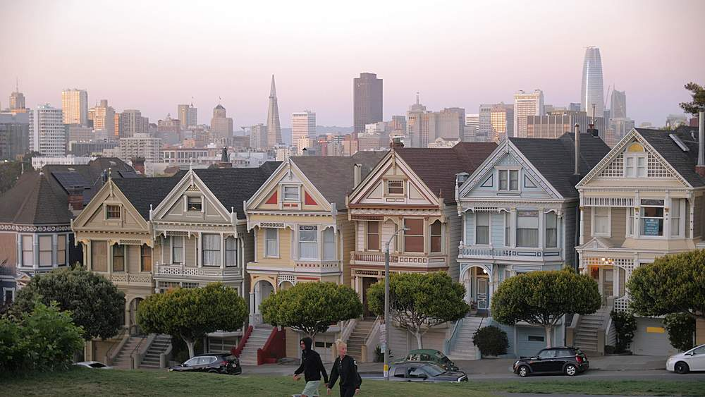 View of Painted Ladies at dusk, Victorian wooden houses, Alamo Square, San Francisco, California, United States of America, North America - 1276-1411