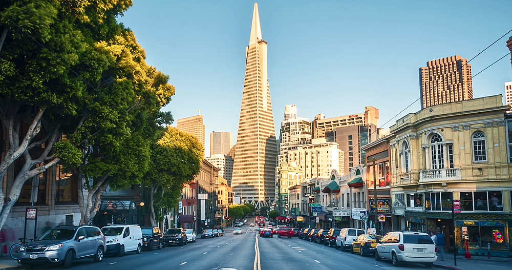 Timelapse of Busy Columbus Avenue and Transamerica Pyramid at sunset, San Francisco, California, United States of America, North America - 1276-1413