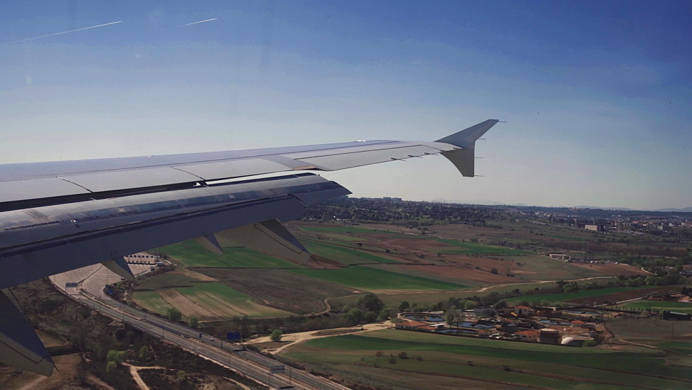 Airplane's wing above the clouds, Spain, Europe
