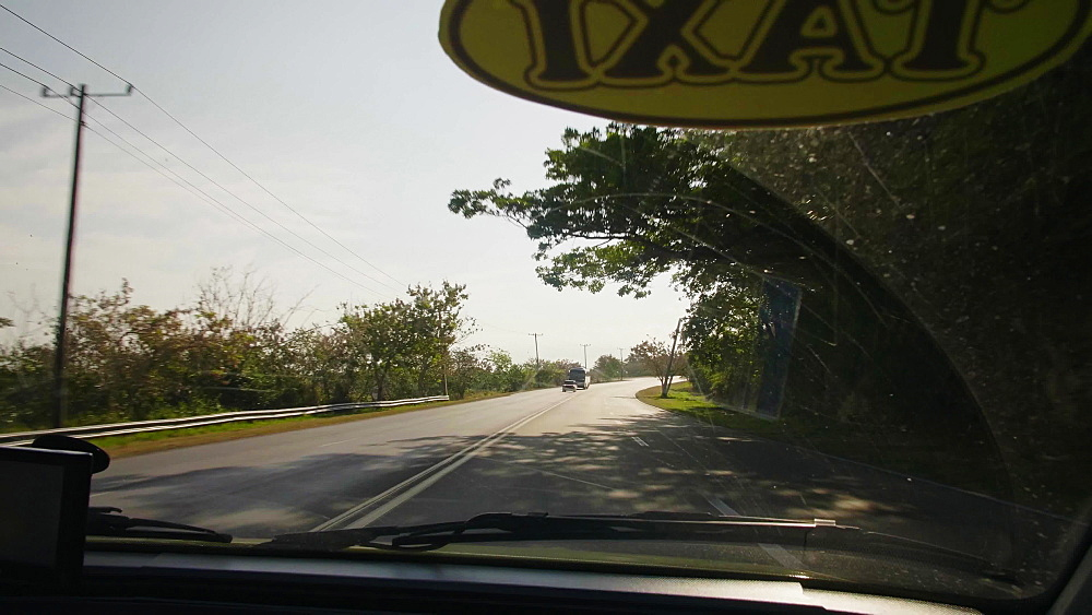 View of a Taxi sign and the highway on the way to Varadero, Cuba, West Indies, Caribbean, Central America