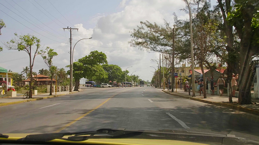 Main street from a car in Varadero, Cuba, West Indies, Caribbean, Central America