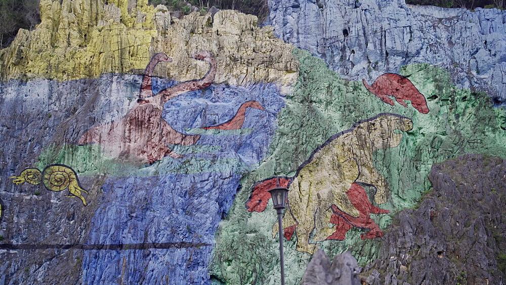 Mural de la Prehistoria, Vinales, UNESCO World Heritage Site, Pinar del Rio Province, Cuba, West Indies, Caribbean, Central America