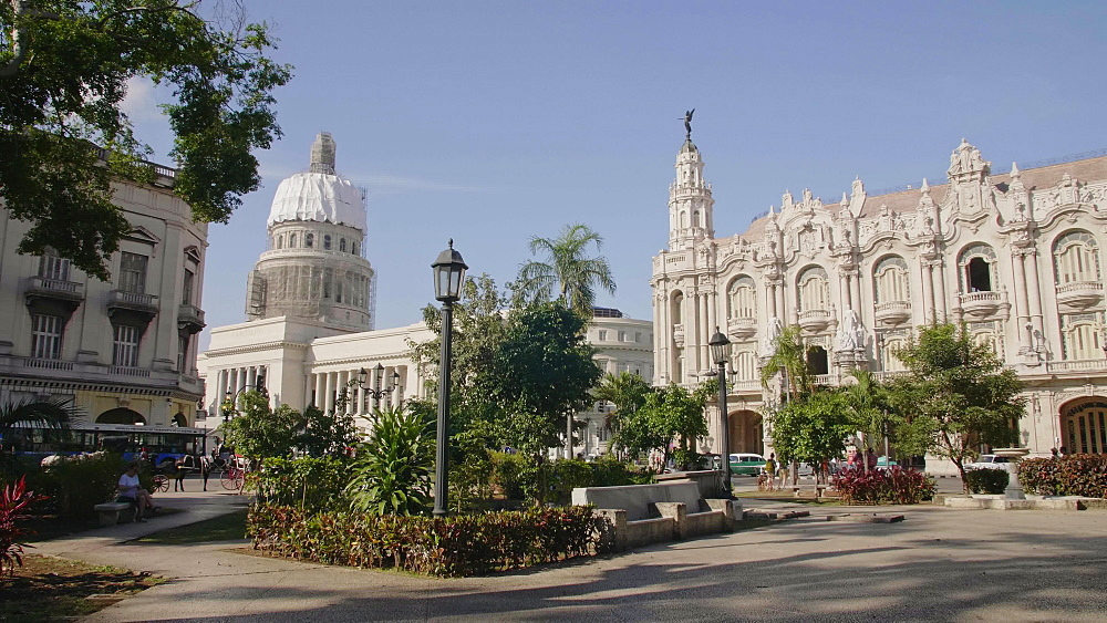 The Gran Teatro de La Habana and El Capitolio from Parque Central in Havana, Cuba, West Indies, Caribbean, Central America
