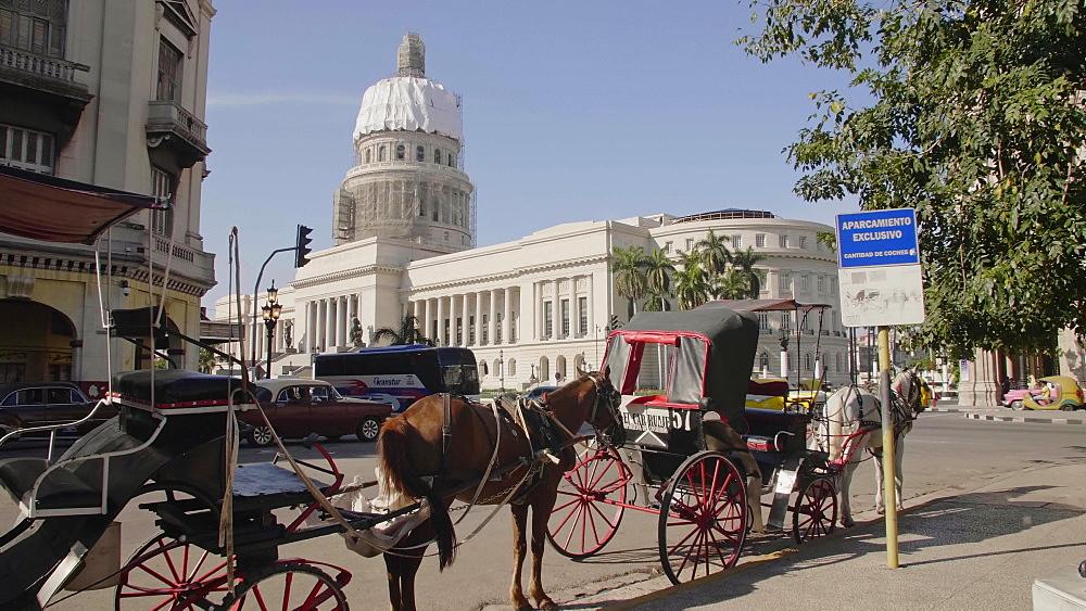 El Capitolio and a horse chariot in Havana, La Habana, Cuba, West Indies, Caribbean, Central America