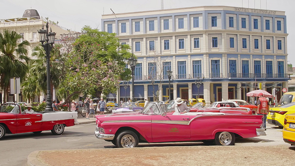Colourful old American taxi cars parked in Havana, UNESCO World Heritage Site, La Habana, Cuba, West Indies, Caribbean, Central America