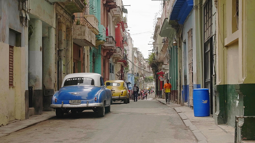 Blue vintage car parked on old colourful street in La Habana, Havana, Cuba, West Indies, Caribbean, Central America