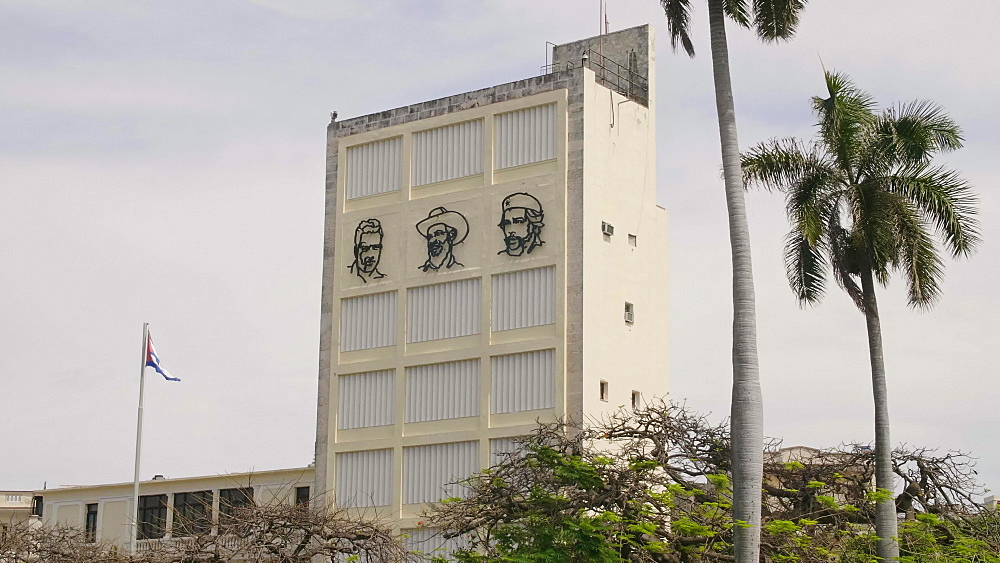 Metal Faces of Fidel Castro, Ernesto Che Guevara and Camilo Cienfuegos on Building Wall Mural near Revolution Museum, Havana, Cuba, West Indies, Caribbean, Central America