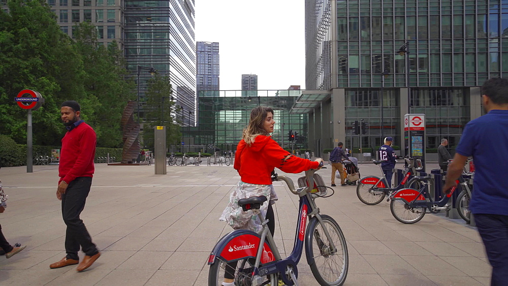 Santander cycle docking station at Canary Wharf, Docklands, London, England, United Kingdom, Europe