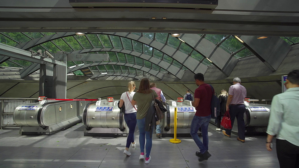 One Canada Square underground station at Canary Wharf, Docklands, London, England, United Kingdom, Europe