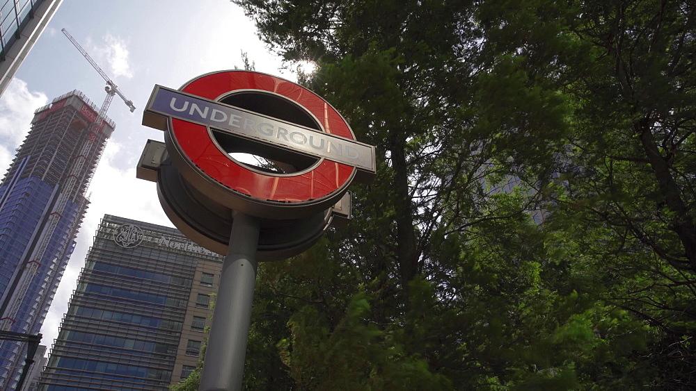 Underground sign at Canary Wharf, Docklands, London, England, United Kingdom, Europe
