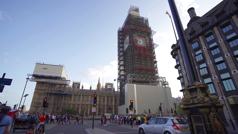 Big Ben under repair and Houses of Parliament, London, England, United Kingdom, Europe