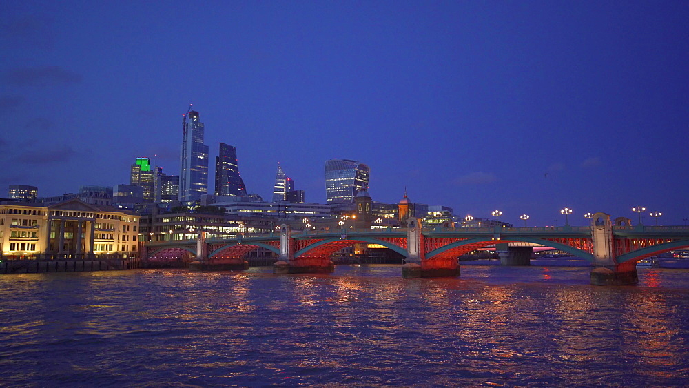 London skyline, Blackfriars Railway Bridge, Thames River and St. Pauls Cathedral at night, London, England, United Kingdom, Europe