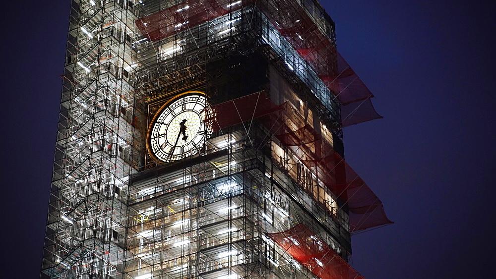 Big Ben under repair at night, London, England, United Kingdom, Europe