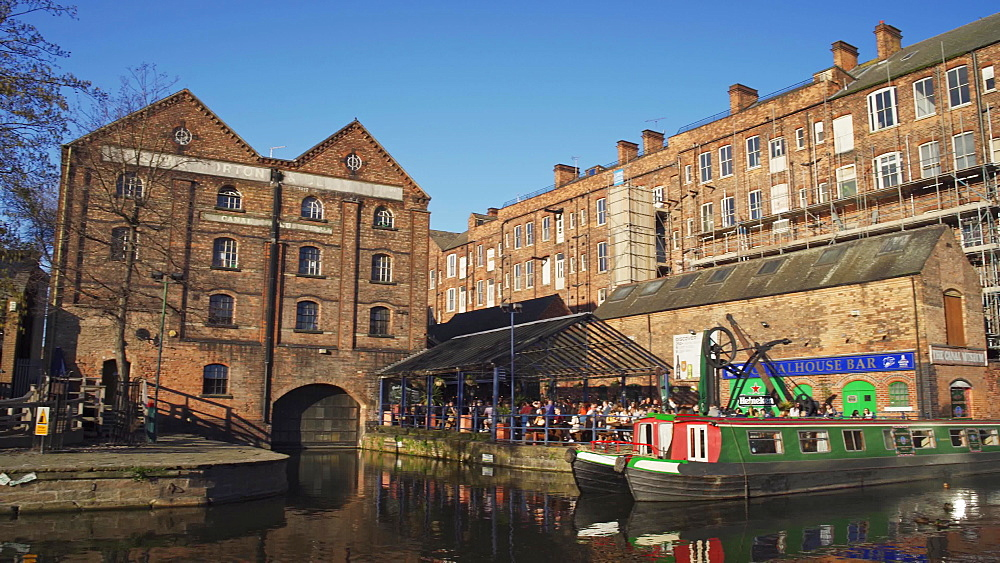 Boats on Nottingham Canal, Castle Wharf, Nottingham, Nottinghamshire, England, United Kingdom, Europe