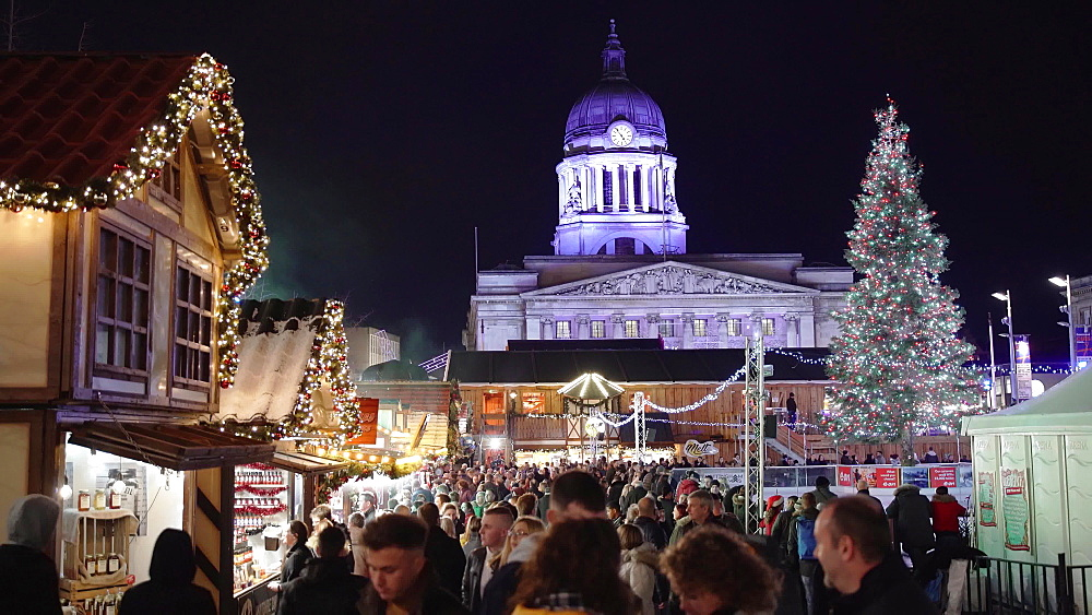 Nottingham Christmas Market on Old Market Square at night, Nottingham, Nottinghamshire, England, United Kingdom, Europe