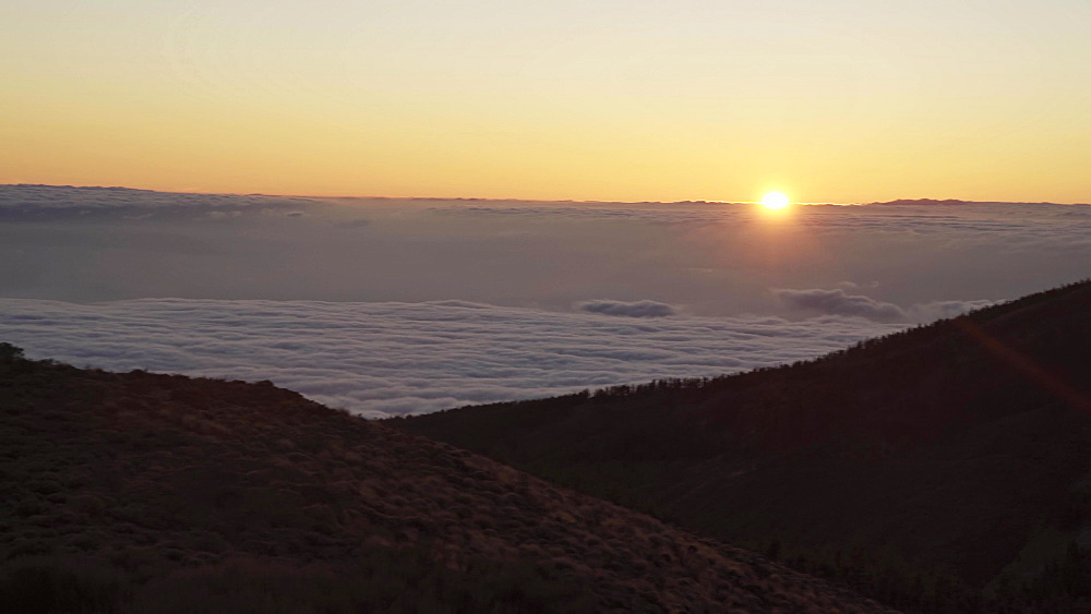 Spectacular sunset above the clouds in the Teide volcano national park in Tenerife, Canary Islands, Europe, Spain - 1276-1991