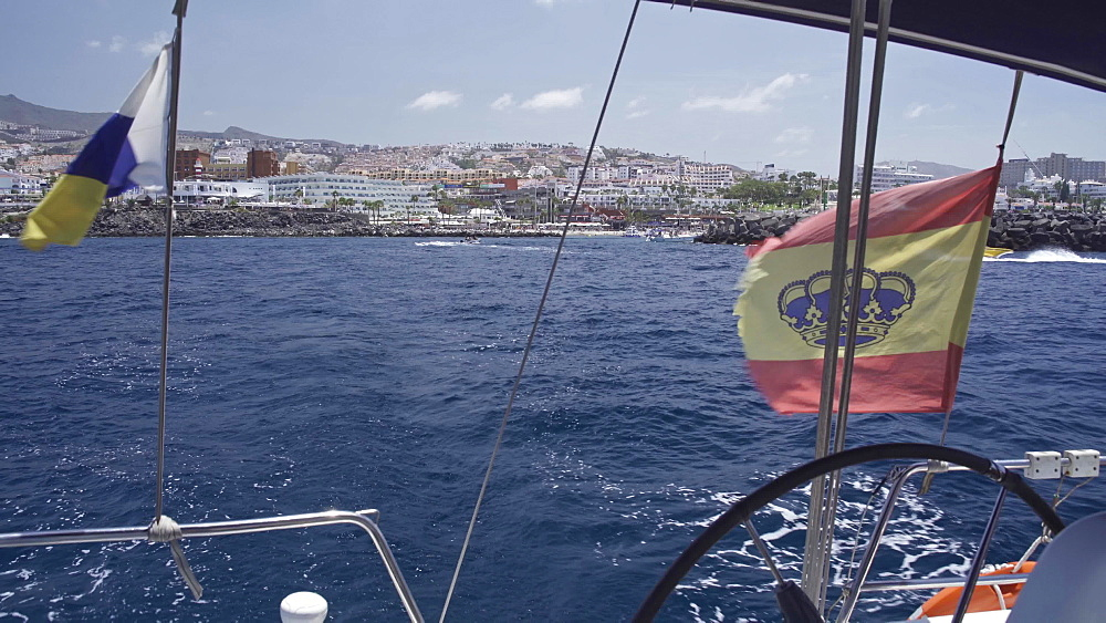 Spanish flag on a Yacht trip around Tenerife, Canary Islands, Spain, Atlantic, Europe