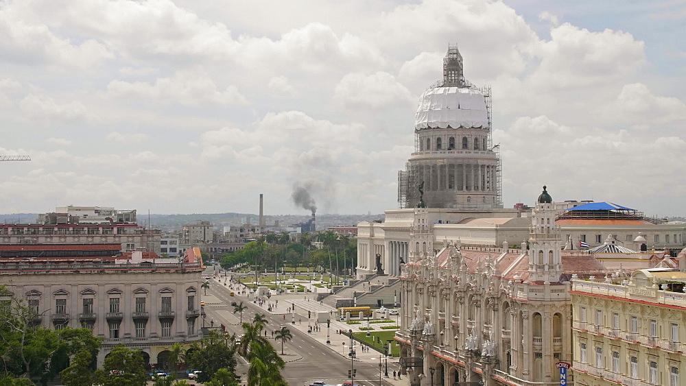 Aerial view the Gran Teatro de La Habana and El Capitolio, Havana, Cuba, West Indies, Caribbean, Central America