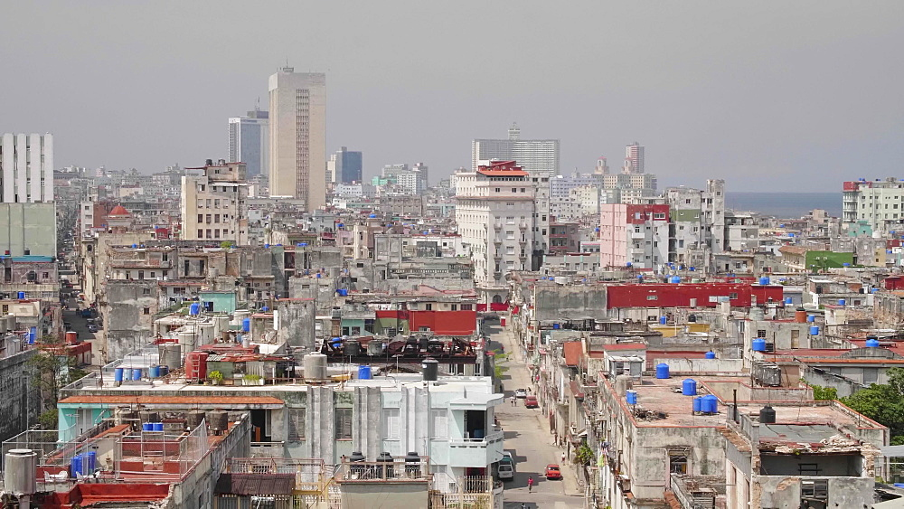 Aerial view of La Habana skyline, Havana, Cuba, West Indies, Caribbean, Central America