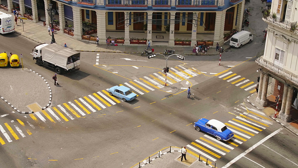 Aerial view of cross roads in Havana, La Habana (Havana), Cuba, West Indies, Caribbean, Central America