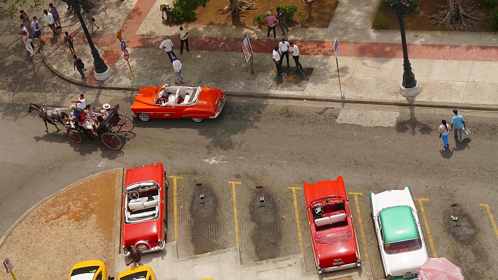 Aerial view of colourful old American taxi cars parked in Havana, La Habana (Havana), Cuba, West Indies, Caribbean, Central America