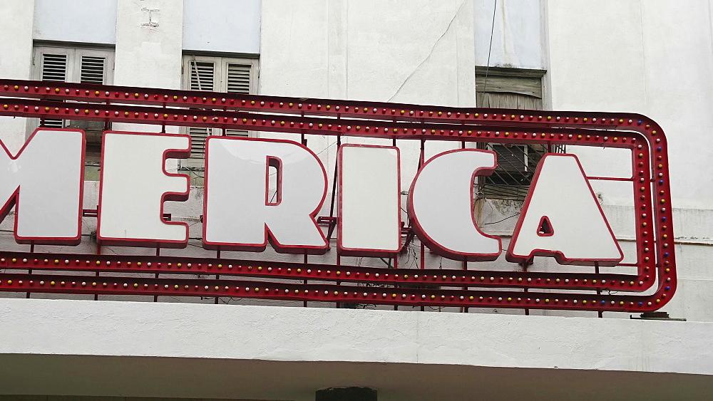 Teatro America sign, La Habana (Havana), Cuba, West Indies, Caribbean, Central America