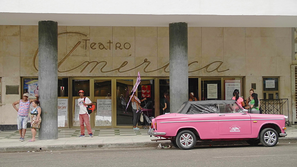 Teatro America entrance, La Habana (Havana), Cuba, West Indies, Caribbean, Central America